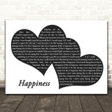 McFly Happiness Landscape Black & White Two Hearts Song Lyric Art Print