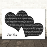 Coldplay Fix You Landscape Black & White Two Hearts Song Lyric Art Print