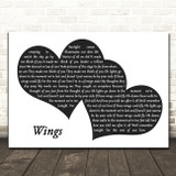 Birdy Wings Landscape Black & White Two Hearts Song Lyric Art Print