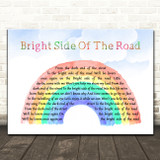Van Morrison Bright Side Of The Road Watercolour Rainbow & Clouds Song Lyric Art Print