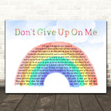 Andy Grammer Don't Give Up On Me Watercolour Rainbow & Clouds Song Lyric Art Print