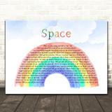Biffy Clyro Space Watercolour Rainbow & Clouds Song Lyric Art Print