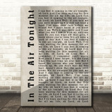 Phil Collins In The Air Tonight Shadow Song Lyric Quote Print