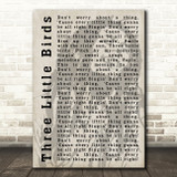 Bob Marley Three Little Birds Shadow Song Lyric Quote Print