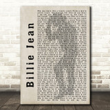 Michael Jackson Billie Jean Shadow Song Lyric Quote Print