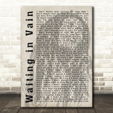 Bob Marley Waiting in Vain Shadow Song Lyric Quote Print