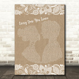I Prevail Every Time You Leave Burlap & Lace Song Lyric Art Print
