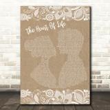 John Mayer The Heart Of Life Burlap & Lace Song Lyric Art Print