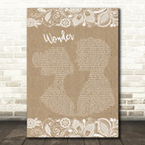 Shawn Mendes Wonder Burlap & Lace Song Lyric Art Print