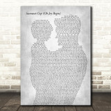 Dave Matthews Band Samurai Cop (Oh Joy Begin) Father & Child Grey Song Lyric Art Print