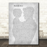 Bob Carlisle Butterfly Kisses Father & Child Grey Song Lyric Art Print