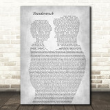 AC DC Thunderstruck Father & Child Grey Song Lyric Art Print
