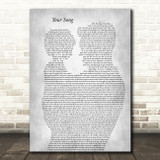 Elton John Your Song Father & Child Grey Song Lyric Art Print