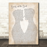 Celine Dion Beauty and the Beast Two Men Gay Couple Wedding Song Lyric Art Print