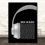 AC DC Back In Black Grey Headphones Song Lyric Art Print