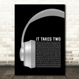 Rob Base and DJ E-Z Rock It Takes Two Grey Headphones Song Lyric Art Print