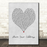 Ben Platt Share Your Address Grey Heart Song Lyric Art Print