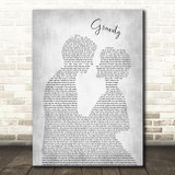 Embrace Gravity Man Lady Bride Groom Wedding Grey Song Lyric Art Print