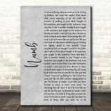 Linkin Park Numb Grey Rustic Script Song Lyric Art Print
