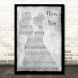 SafetySuit Never Stop (Wedding Version) Lesbian Couple Two Ladies Dancing Grey Song Lyric Art Print