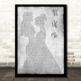John Legend All Of Me Lesbian Couple Two Ladies Dancing Grey Song Lyric Art Print