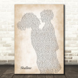 Lady Gaga & Bradley Cooper Shallow Mother & Child Song Lyric Art Print