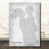 Julie Andrews Feed the Birds Mother & Child Grey Song Lyric Art Print