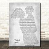 Tim McGraw I Called Mama Mother & Child Grey Song Lyric Art Print