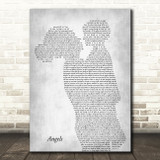 Robbie Williams Angels Mother & Child Grey Song Lyric Art Print