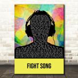 Rachel Platten Fight Song Multicolour Man Headphones Song Lyric Art Print