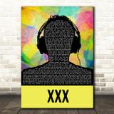 Kendrick Lamar XXX Multicolour Man Headphones Song Lyric Art Print