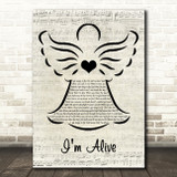 Celine Dion I'm Alive Music Script Angel Song Lyric Art Print