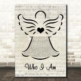 Jessica Andrews Who I Am Music Script Angel Song Lyric Art Print