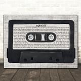 Kavinsky Nightcall Music Script Cassette Tape Song Lyric Art Print