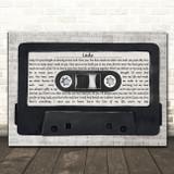 Kenny Rogers Lady Music Script Cassette Tape Song Lyric Art Print