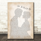 Billy Joel Just The Way You Are Man Lady Bride Groom Wedding Song Lyric Print