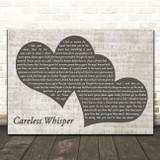 George Michael Careless Whisper Landscape Music Script Two Hearts Song Lyric Art Print