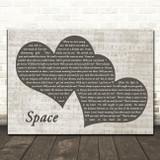 Biffy Clyro Space Landscape Music Script Two Hearts Song Lyric Art Print