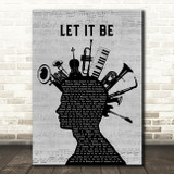 The Beatles Let It Be Musical Instrument Mohawk Song Lyric Art Print