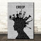 Radiohead Creep Musical Instrument Mohawk Song Lyric Art Print