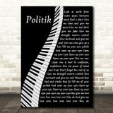 Coldplay Politik Piano Song Lyric Art Print