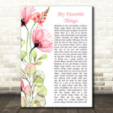 Julie Andrews My Favorite Things Floral Poppy Side Script Song Lyric Art Print