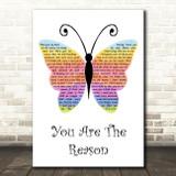 Callum Scott & Leona Lewis You Are The Reason Rainbow Butterfly Song Lyric Art Print