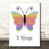 Ariana Grande (Clean Version) 7 Rings Rainbow Butterfly Song Lyric Art Print