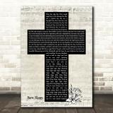 Underworld Born Slippy Music Script Christian Memorial Cross Song Lyric Art Print