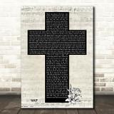 Cardi B WAP Music Script Christian Memorial Cross Song Lyric Art Print