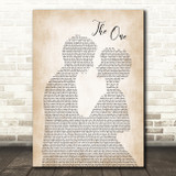Kodaline The One Man Lady Bride Groom Wedding Song Lyric Quote Print