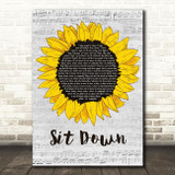 James Sit Down Grey Script Sunflower Song Lyric Art Print