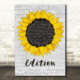 Rex Orange County Edition Grey Script Sunflower Song Lyric Art Print