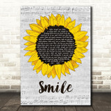 Michael Jackson Smile Grey Script Sunflower Song Lyric Art Print